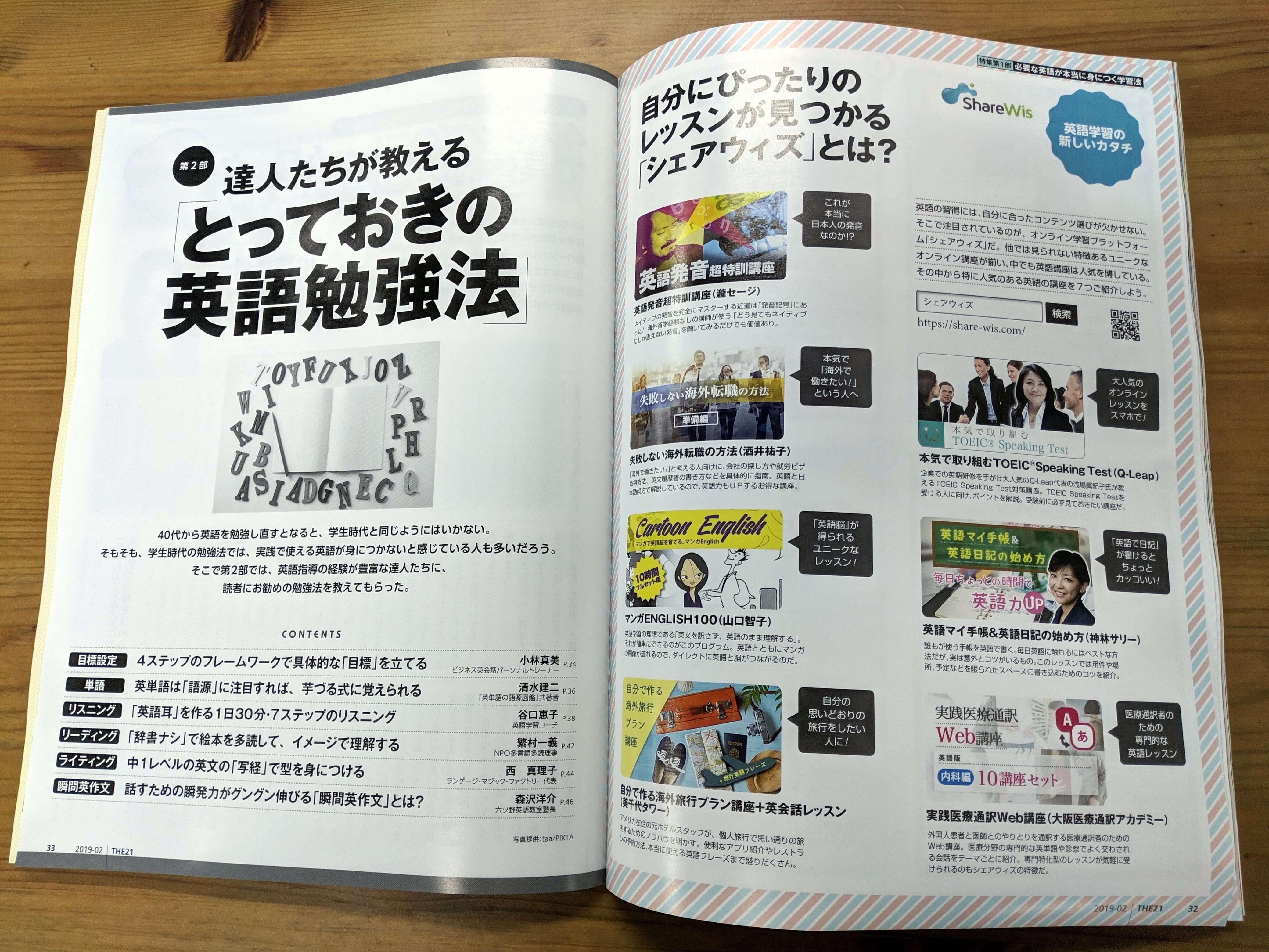 ShareWisの英語コースが紹介されている雑誌THE 21(株式会社PHP研究所)の掲載ページの見開きの画像